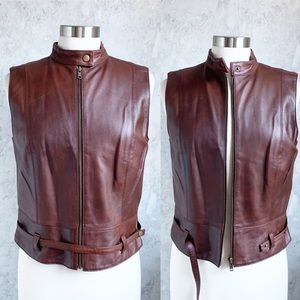 Cabi Dark Brown Leather Moto Vest Full Zip M